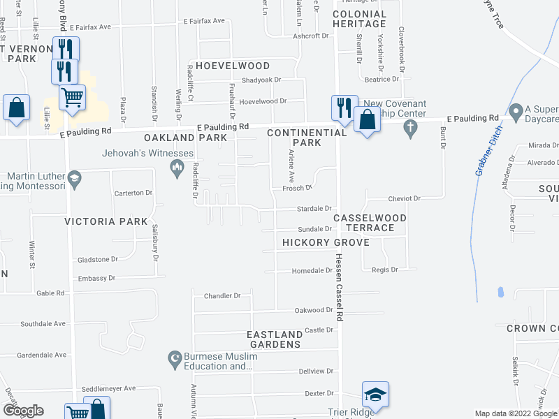 map of restaurants, bars, coffee shops, grocery stores, and more near Stardale Drive in Fort Wayne