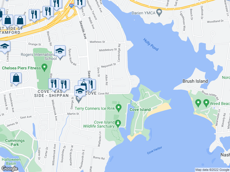 map of restaurants, bars, coffee shops, grocery stores, and more near 44-66 Island Heights Drive in Stamford