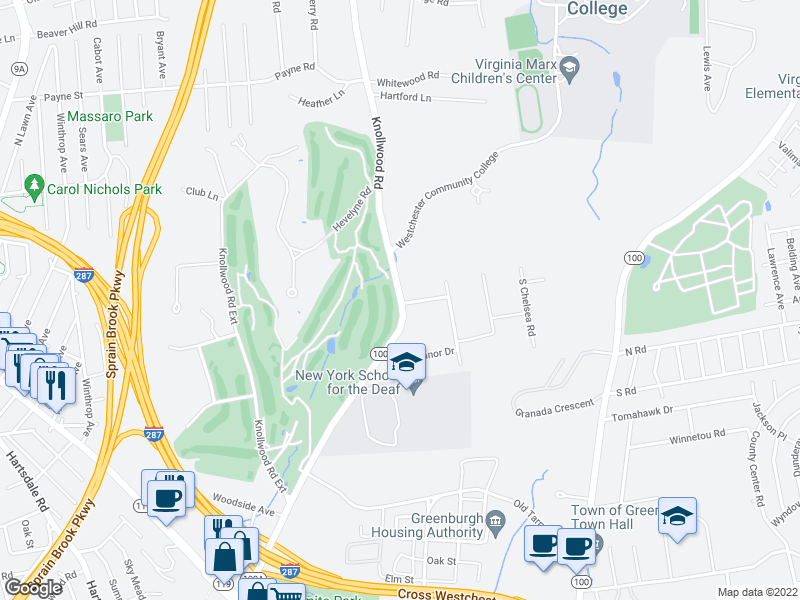 map of restaurants, bars, coffee shops, grocery stores, and more near 499-545 Knollwood Rd in White Plains