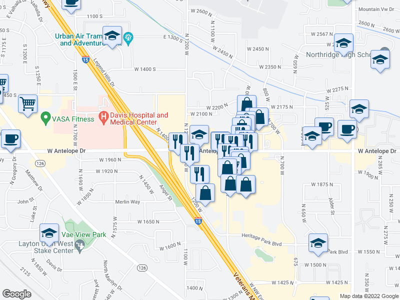 map of restaurants, bars, coffee shops, grocery stores, and more near 1100 W Antelope Dr in Layton