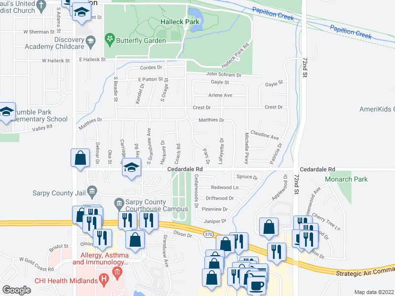 map of restaurants, bars, coffee shops, grocery stores, and more near 1101 Rousseau Ct in Papillion