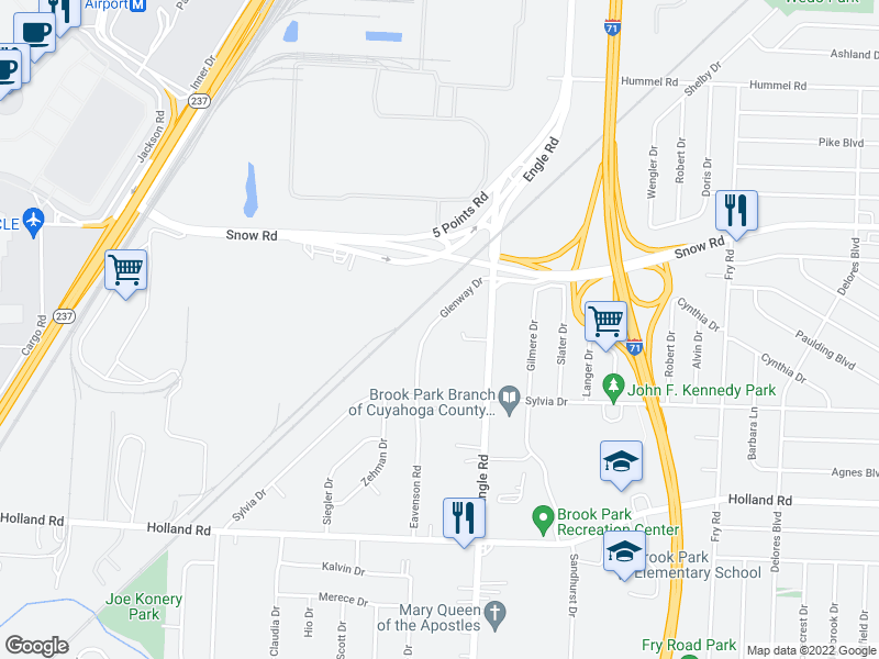 map of restaurants, bars, coffee shops, grocery stores, and more near 5996 Glenway Dr in Brook Park
