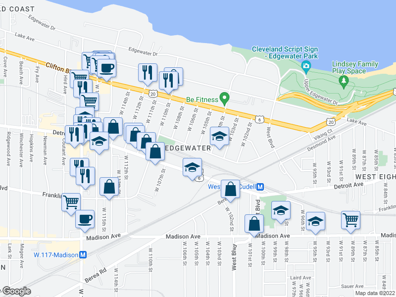 map of restaurants, bars, coffee shops, grocery stores, and more near  in Cleveland