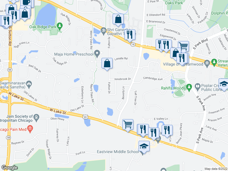 map of restaurants, bars, coffee shops, grocery stores, and more near 1131 Fulton Drive in Streamwood