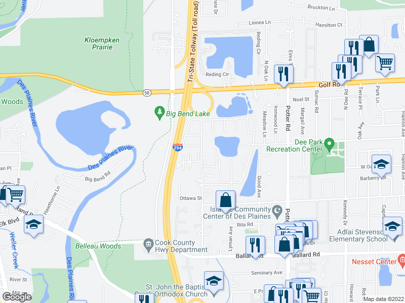 map of restaurants, bars, coffee shops, grocery stores, and more near 9392 Bay Colony Dr in Des Plaines
