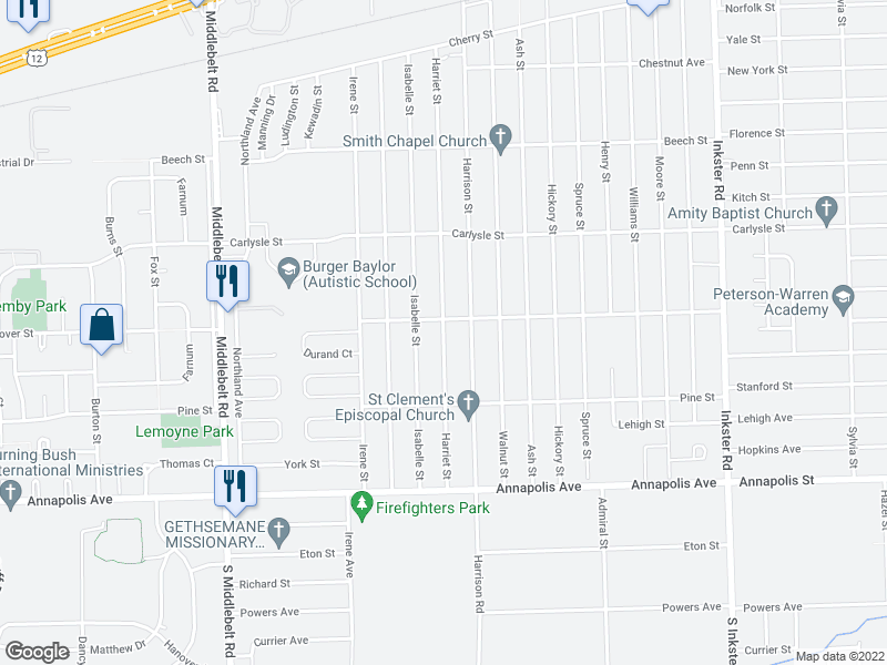 map of restaurants, bars, coffee shops, grocery stores, and more near 3956 Harriet St in Inkster