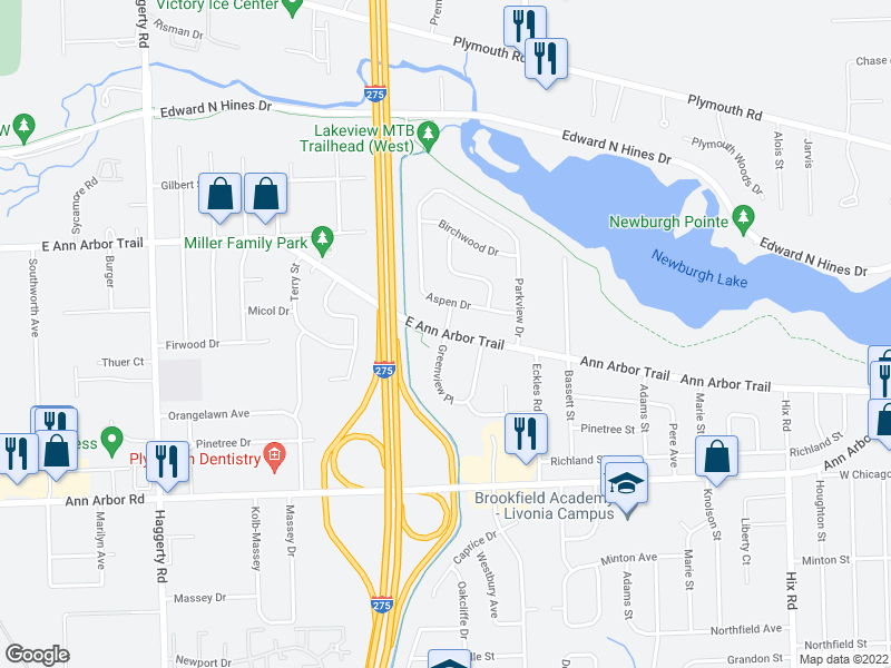 map of restaurants, bars, coffee shops, grocery stores, and more near Ann Arbor Trail & Greenview Pl in Plymouth