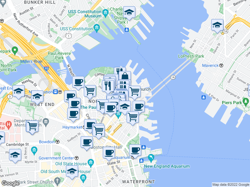 map of restaurants, bars, coffee shops, grocery stores, and more near Hanover Street & Battery Street in Boston