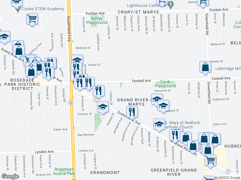 map of restaurants, bars, coffee shops, grocery stores, and more near 15018 Biltmore St in Detroit