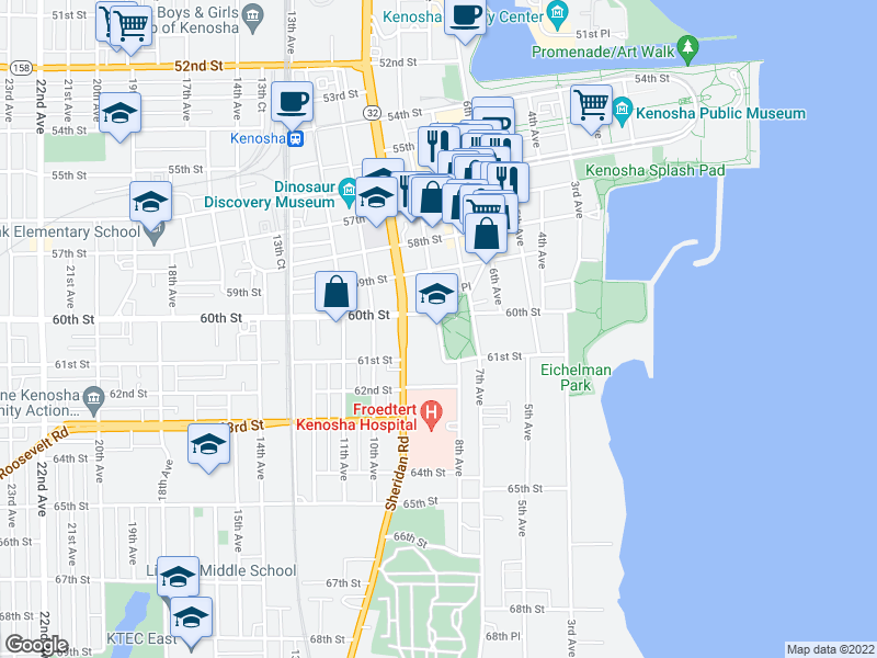 map of restaurants, bars, coffee shops, grocery stores, and more near 6008 8th Ave in Kenosha