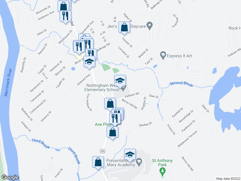 map of restaurants, bars, coffee shops, grocery stores, and more near 10-22 Pelham Rd in Hudson