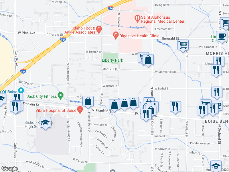 map of restaurants, bars, coffee shops, grocery stores, and more near 187 North Avenger Lane in Boise