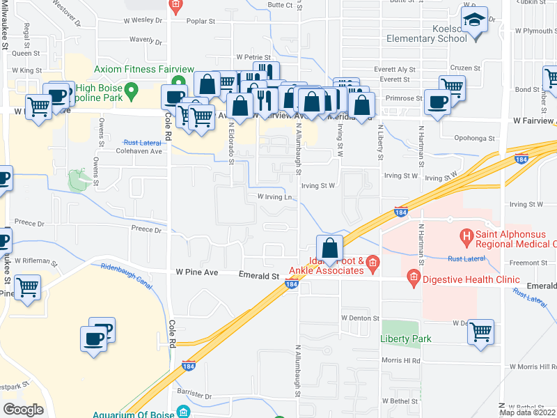 map of restaurants, bars, coffee shops, grocery stores, and more near 7019-7061 West Irving Lane in Boise
