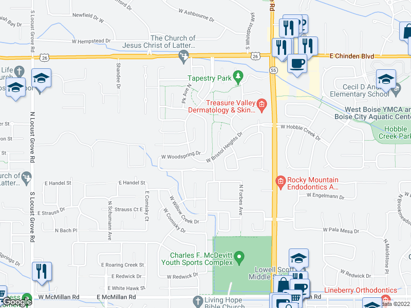 map of restaurants, bars, coffee shops, grocery stores, and more near 5800 N Rothmans Ave in Boise