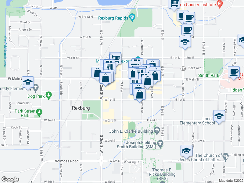map of restaurants, bars, coffee shops, grocery stores, and more near 57 West Main Street in Rexburg