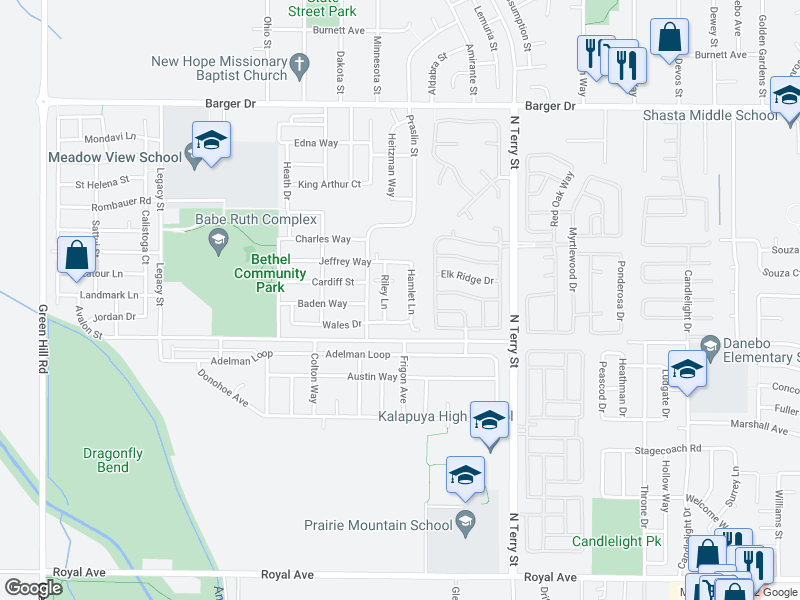 map of restaurants, bars, coffee shops, grocery stores, and more near 1653 Riley Ln in Eugene