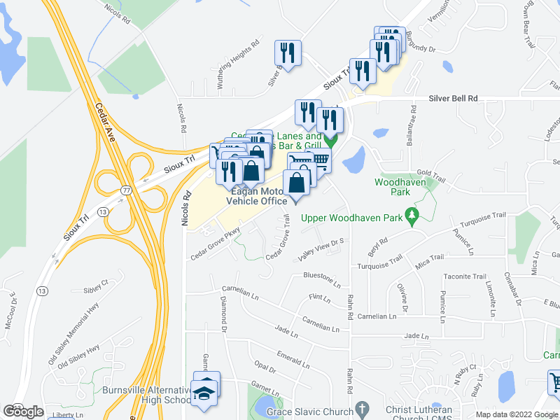 map of restaurants, bars, coffee shops, grocery stores, and more near 2113 Cedar Grove Trail in Eagan