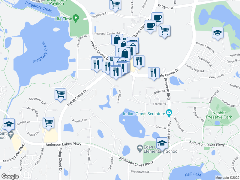 map of restaurants, bars, coffee shops, grocery stores, and more near 8470 Franlo Rd in Eden Prairie