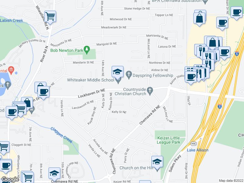 map of restaurants, bars, coffee shops, grocery stores, and more near 1644-1664 Lockhaven Dr NE in Keizer
