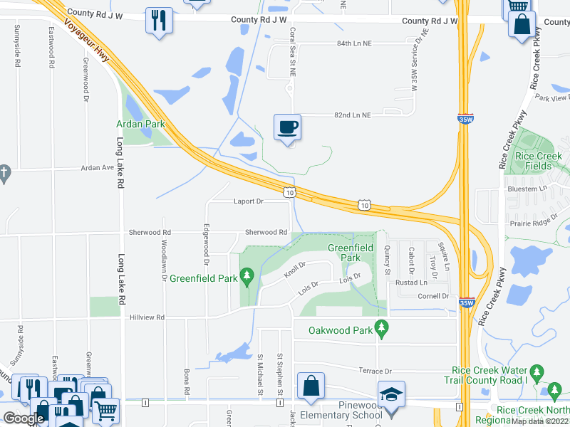 map of restaurants, bars, coffee shops, grocery stores, and more near 2309 Sherwood Road in Mounds View