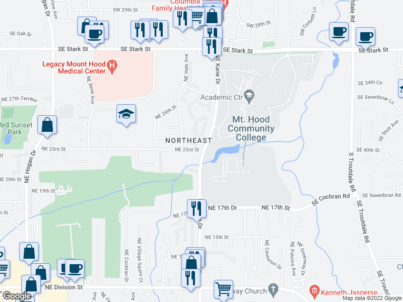map of restaurants, bars, coffee shops, grocery stores, and more near  in Gresham