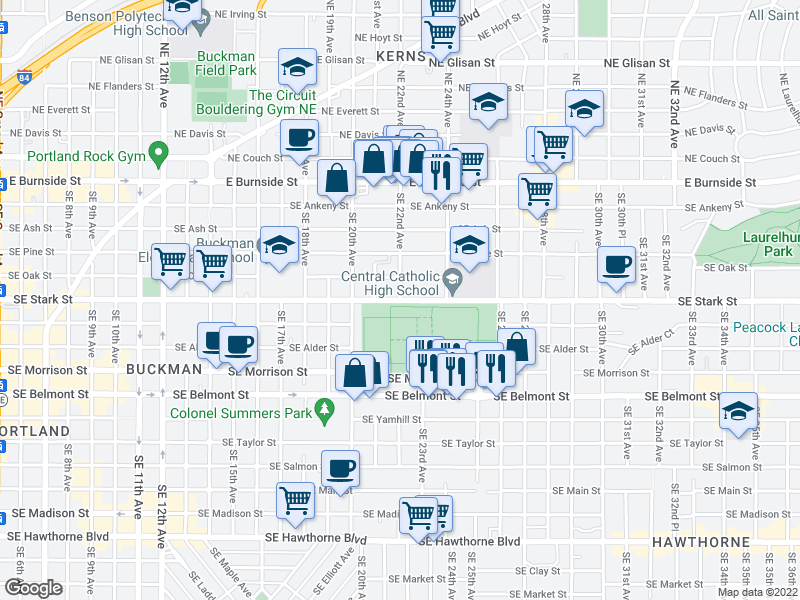 map of restaurants, bars, coffee shops, grocery stores, and more near Southeast Stark Street & Southeast 22nd Avenue in Portland