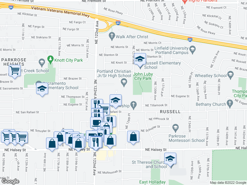map of restaurants, bars, coffee shops, grocery stores, and more near 12425 NE San Rafael St in Portland