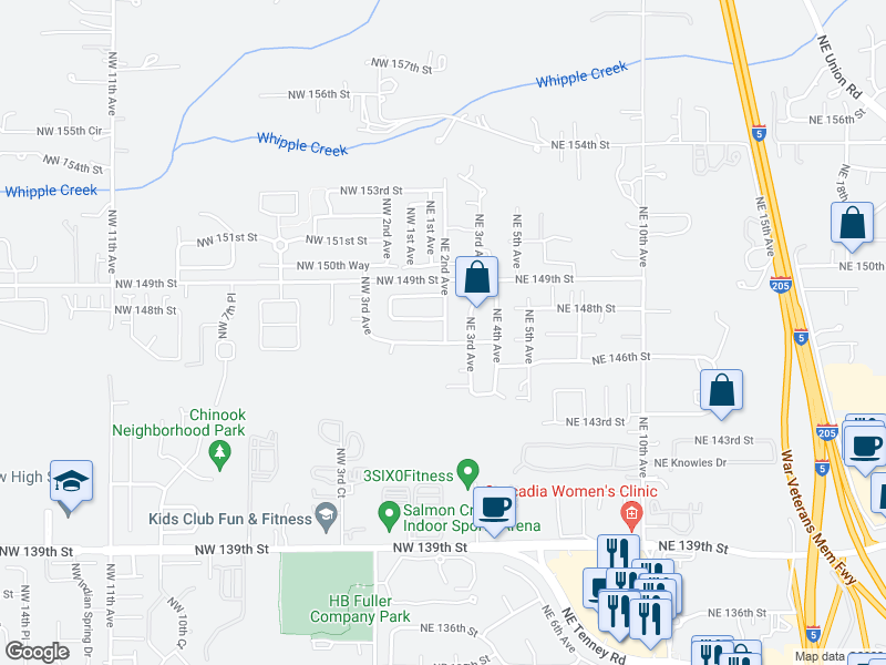 map of restaurants, bars, coffee shops, grocery stores, and more near 108 NE 146th St in Salmon Creek