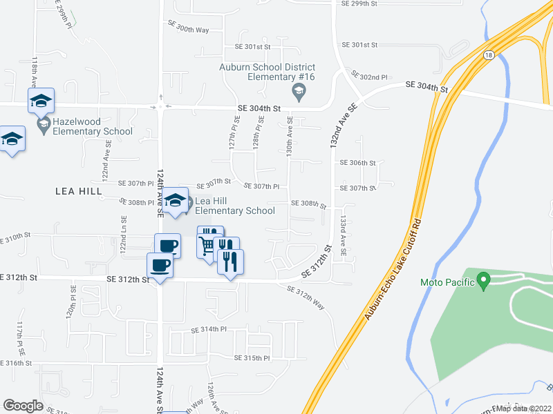 map of restaurants, bars, coffee shops, grocery stores, and more near 30833 130th Ave SE in Auburn