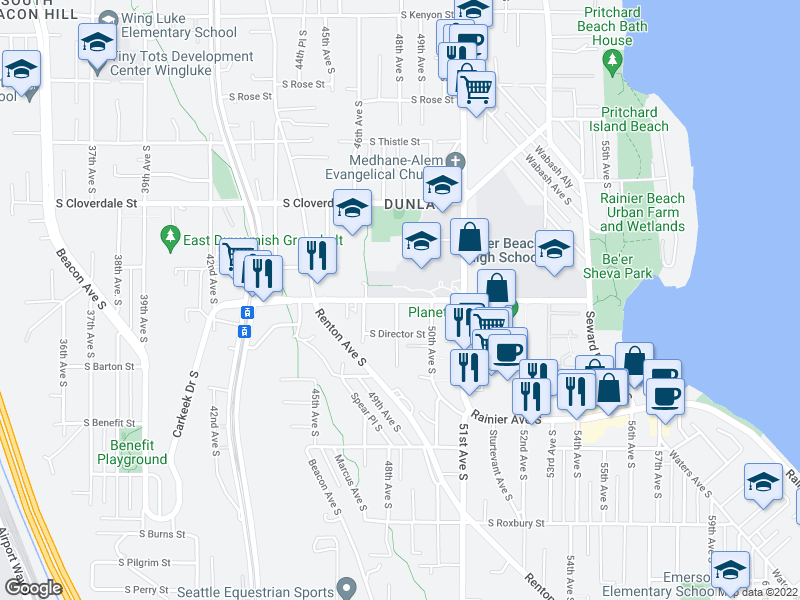 map of restaurants, bars, coffee shops, grocery stores, and more near 4801 S Henderson St in Seattle