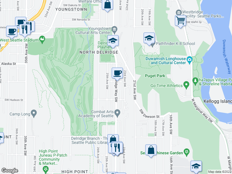 map of restaurants, bars, coffee shops, grocery stores, and more near 4804 Delridge Way Southwest in Seattle