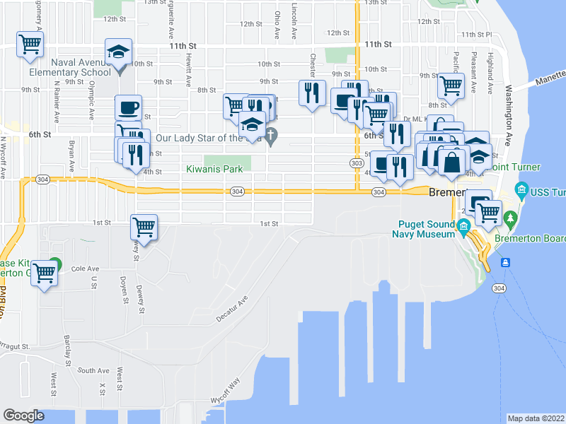 map of restaurants, bars, coffee shops, grocery stores, and more near Gregory Way & State Street in Bremerton
