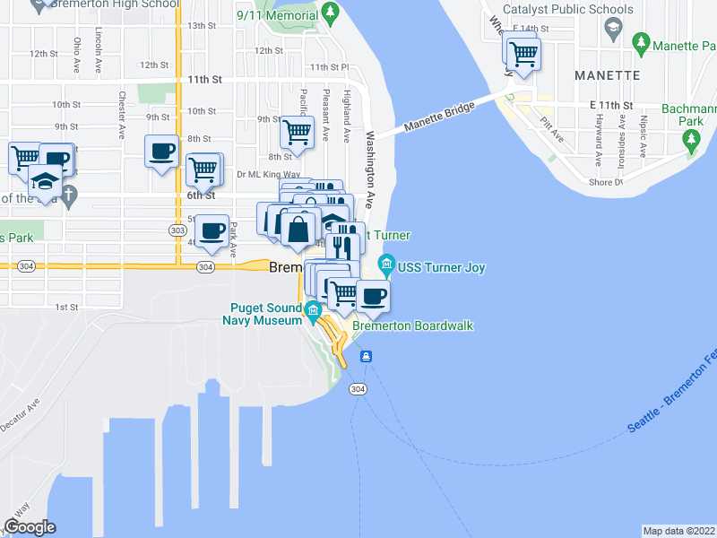 map of restaurants, bars, coffee shops, grocery stores, and more near 214 Burwell St in Bremerton