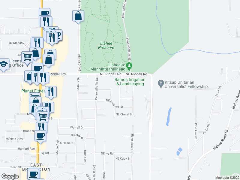 map of restaurants, bars, coffee shops, grocery stores, and more near 4428 Olympus Dr NE in Bremerton