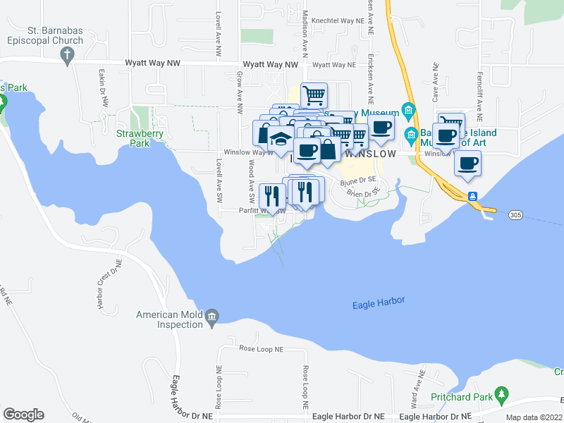map of restaurants, bars, coffee shops, grocery stores, and more near 239 Parfitt Way SW in Bainbridge Island