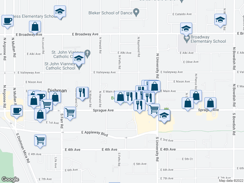 map of restaurants, bars, coffee shops, grocery stores, and more near 223 N Felts Rd in Spokane