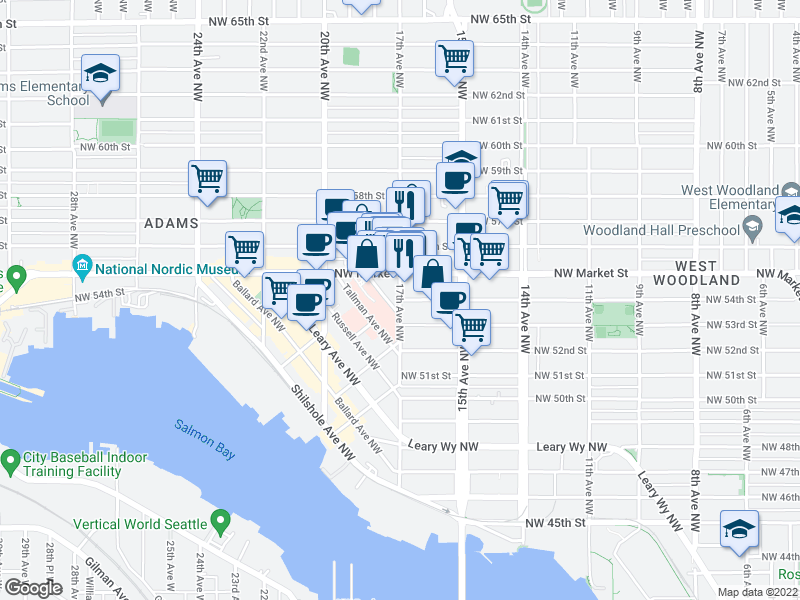 map of restaurants, bars, coffee shops, grocery stores, and more near NW 54th St in Seattle