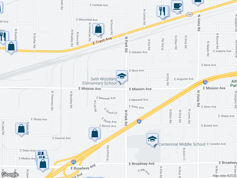map of restaurants, bars, coffee shops, grocery stores, and more near 7301-7499 E Mission Ave in Spokane