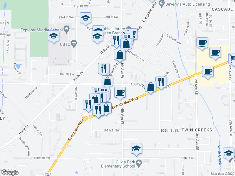 map of restaurants, bars, coffee shops, grocery stores, and more near 10012 4th Avenue West in Everett
