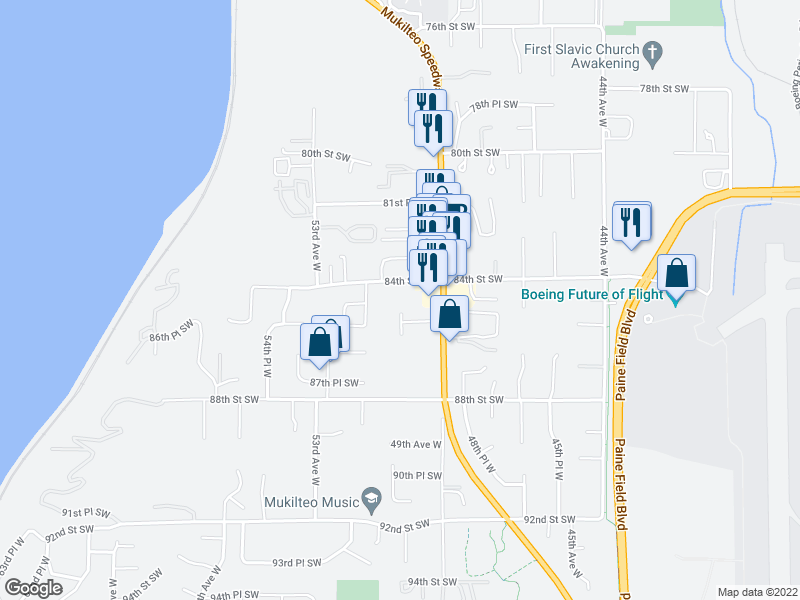 map of restaurants, bars, coffee shops, grocery stores, and more near 5025 84th St SW in Mukilteo